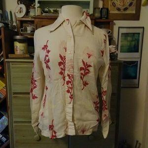 1970s disco geometric floral white button up shirt